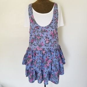 Vintage Ruffle Floral Peplum Jumper Dress Blue LRG